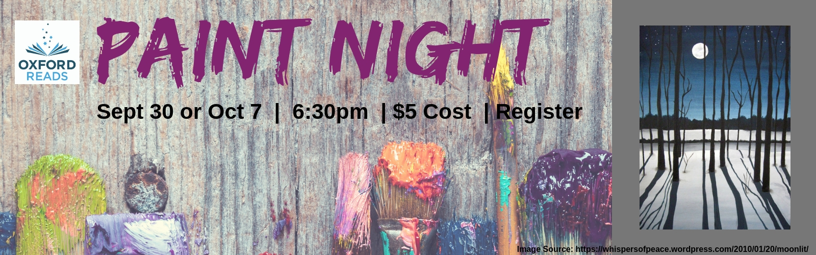 Paint Night September 30 or August 7 at 6:30 pm Cost $5 Register